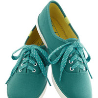 Jump for Joy Sneakers in Teal   Mod Retro Vintage Flats   ModCloth.com