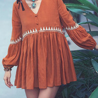 V Neck Bubble Sleeve Embroidered  Babydoll Dress