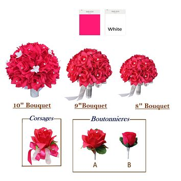 Hot Pink and White Artificial Bouquet, Corsage, Boutonniere *Build Your Package*