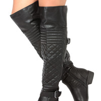 Black Faux Leather Over the Knee Quilted Biker Boots