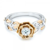Jewelry Gift Stylish New Arrival Shiny Floral Double Color Ring [179843792922]