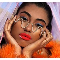 Women Fashion Rhinestone Frame Glasses