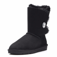 High Quality!Sheepskin Winter Women Boots Crystal Button Snow Boots Botas Classic Australia Real Leather Warm Wool Women Boots