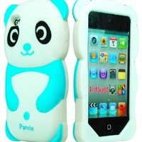 iPod Touch 4 Case, Bastex 3D Silicone Sky Blue & White Panda Bear Case for Apple iPod Touch 4 ...