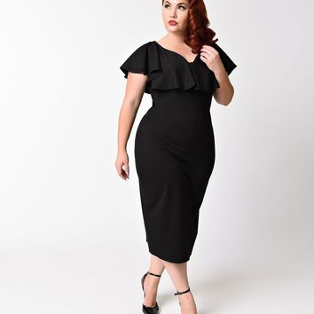 Unique Vintage Plus Size Black Knit Draped Sophia Wiggle Dress