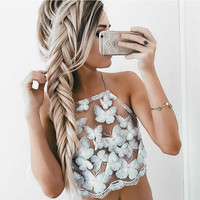 Butterfly Patterned Mesh Halter Crop Top