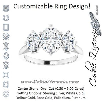 Cubic Zirconia Engagement Ring- The Taryn (Customizable Triple Oval Cut Design with Decorative Trellis)