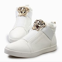 Versace Popular Women Men High Help Low Help Sneakers Leisure Running Sports Shoes White High Help
