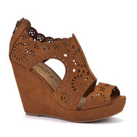 Tan Cut Out Cage Wedges