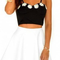 Black Bustier Crop Top with Daisies