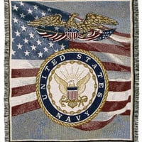United States Navy Afghan - Machine Wash Cold, Tumble Dry Low, No Bleach