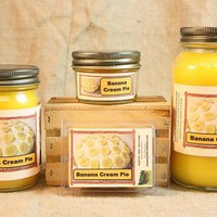 Banana Creme Pie Scented Candle, Banana Creme Pie Scented Wax Tarts, 26 oz, 12 oz, 4 oz Jar Candles or 3.5 Clam Shell Wax Melts