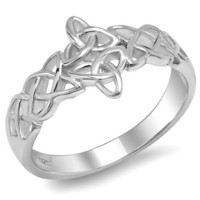 Sterling Silver Ladies Triquetra Trinity Celtic Knot 11 mm Polished Finish Ring (Available in size