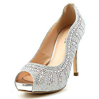 Coloriffics Womens Angela Rhinestone Pump Platform Heels