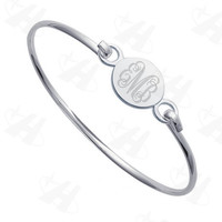 Silver Plated Custom Monogram Initial Bangle Bracelet - Save 38%!