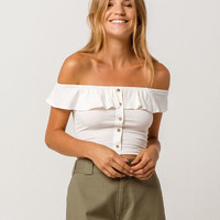 TRES BIEN Crop Button Front White Womens Off The Shoulder Top