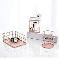 Rose Gold Wire Mesh Storage Basket Kitchen Dry Food Fruits Display Office Supplies Organiser Household Decoration Pastoral Style