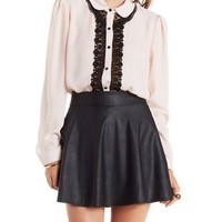 Pale Blush Crochet-Trim Button-Up Top by Charlotte Russe
