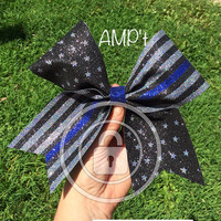Thin Blue Line American Flag Giant Super Sparkle Law Enforcement Cheer Bow Blue Lives Matter Red Line Firefighters