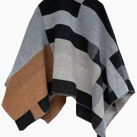 Grey and Apricot Plaid Cape