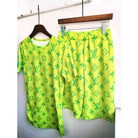 LV Louis Vuitton New fashion monogram print top and shorts two piece suit Fluorescent Green