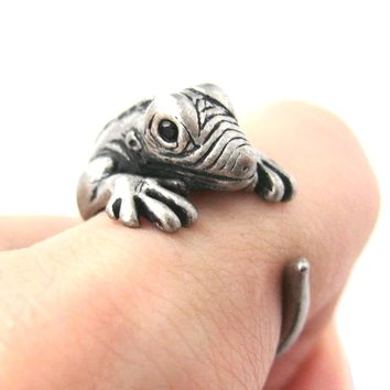 Iguana Chameleon Animal Wrap Around Ring in Silver - Sizes 4 to 9 Available