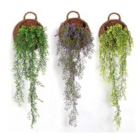 Green Hanging Plant Plastic Artificial Weeping Willow Stem Vine for Willow Wall Shop Home Decoration Balcony Artificial Flower