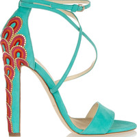 Brian Atwood - Sonya embellished suede sandals