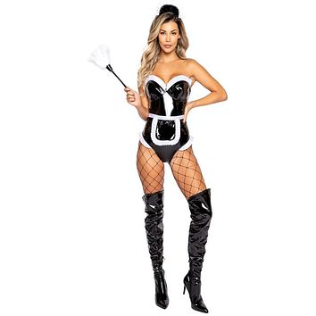 Sexy French Maid Wet Look Vinyl Romper Costume