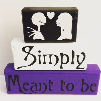 Jack and Sally Nightmare Before Christmas Wood Stacking Blocks Painted with Decals Disney Lover
