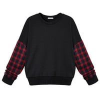 Black Plaid Sleeve Sweatshirt With Drop Shoulder
