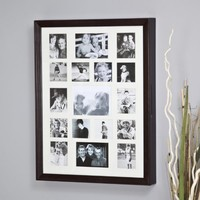 Collage Photo Frame Wooden Wall Locking Jewelry Armoire - 23W x 30H x 3.5D in. Color - Oak