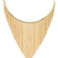 Gold Chain Fringe Choker Necklace by Charlotte Russe