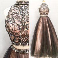 Two Pieces Beading Fashion Prom Dresses, Long Formal Dress SP1181