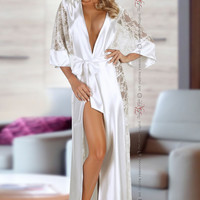 Bouquet Dressing Gown in White by Beauty Night