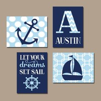 NAUTICAL Nursery Art, Boy NAUTICAL Wall Art Canvas or Prints Nautical Nursery Decor, Nautical Nursery Artwork, Anchor Sailboat, Set of 4