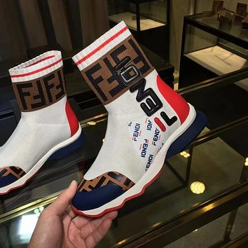 Fendi autumn and winter new double F letter stitching LOGO high help women's boots shoes white