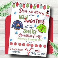 Ugly Sweater Christmas Party Invitation - Christmas party invitation - PRINTABLE - Ugly Sweater Party - Holiday Party Invitation