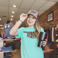 Mint Crew Neck with Leopard Oklahoma T-shirt