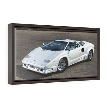 White Lamborghini Countach Canvas Gallery Wrap