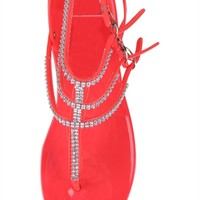 T-Strap Jelly Sandal with Rhinestones