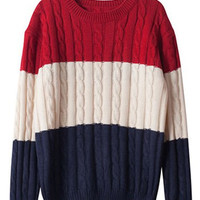 Color Block Round Neck Long Sleeve Sweater
