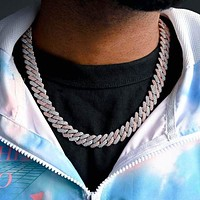 Two-Tone Prong Cuban Link Choker (12mm) in Rose/White Gold