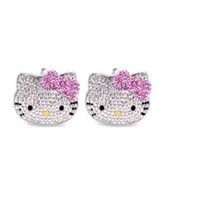 Adorable Kitty Large Stud Earrings with Pink Flower Bow