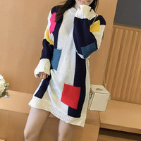 Fashion Multicolor Scoop Neck Long Sleeve Loose blouse top Top Sweater Pullover
