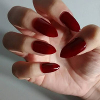 Burgundy Red Matte or Glossy Stiletto Nails - wine - Maroon -False nails - Fake Nails - Nail Set - Nail Art - Nail Designs - Press On Nails