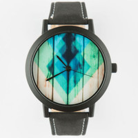 Stained Wood Print Watch Black One Size For Men 25190010001