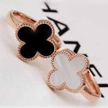 Cartier fashion romantic fresh four-leaf clover shell rose gold titanium ring jewelry gift