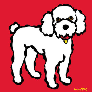Poodle on Red Print
