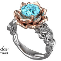 Flower Engagement Ring,Unique Engagement Ring,Two Tone White Rose Gold Aquamarine Engagement Ring By Vidar Botique,Leaves Engagement Ring